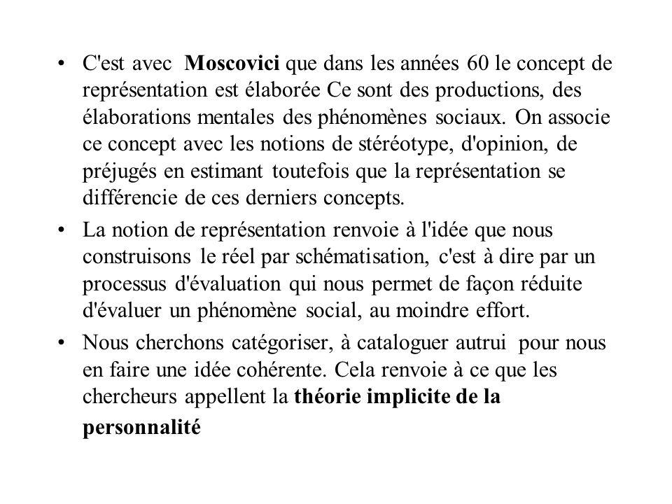 C est avec Moscovici que dans les années 60 le concept de représentation est élaborée Ce sont des productions, des élaborations mentales des phénomènes sociaux. On associe ce concept avec les notions de stéréotype, d opinion, de préjugés en estimant toutefois que la représentation se différencie de ces derniers concepts.