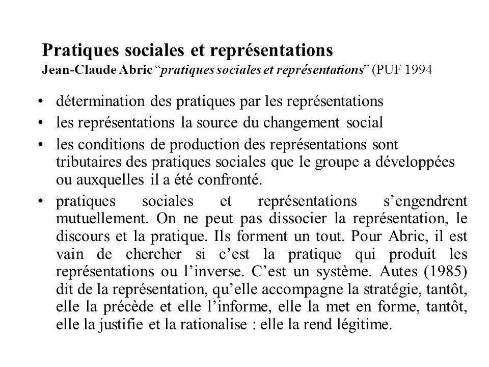 Pratiques sociales et représentations Jean-Claude Abric pratiques sociales et représentations (PUF 1994