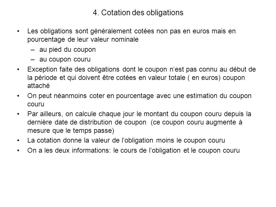 4. Cotation des obligations