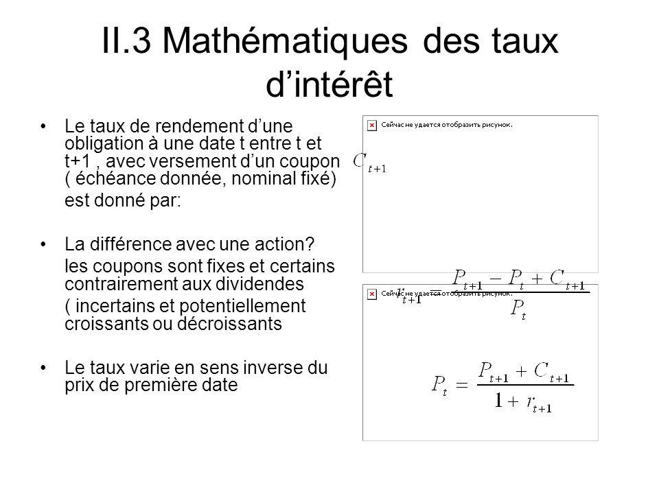 II.3 Mathématiques des taux d'intérêt