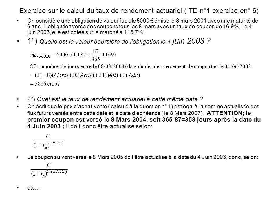 1°) Quelle est la valeur boursière de l obligation le 4 juin 2003