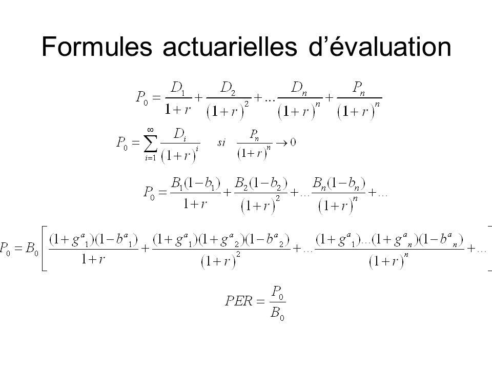 Formules actuarielles d'évaluation