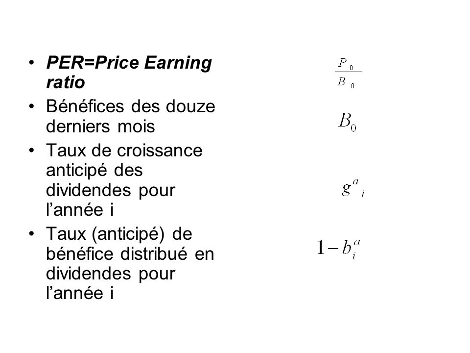 PER=Price Earning ratio
