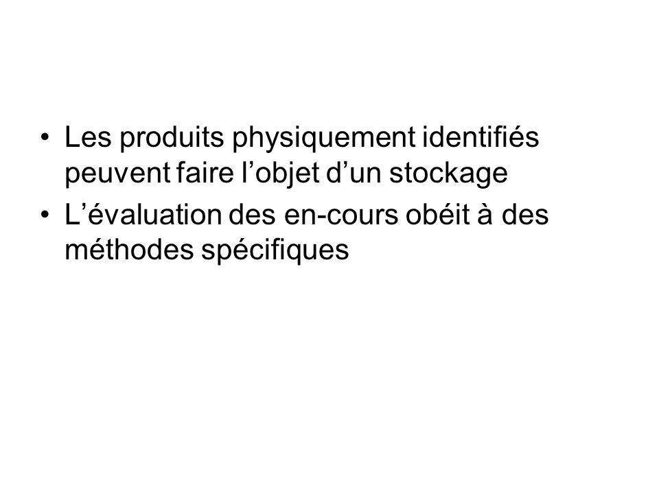 Les produits physiquement identifiés peuvent faire l'objet d'un stockage