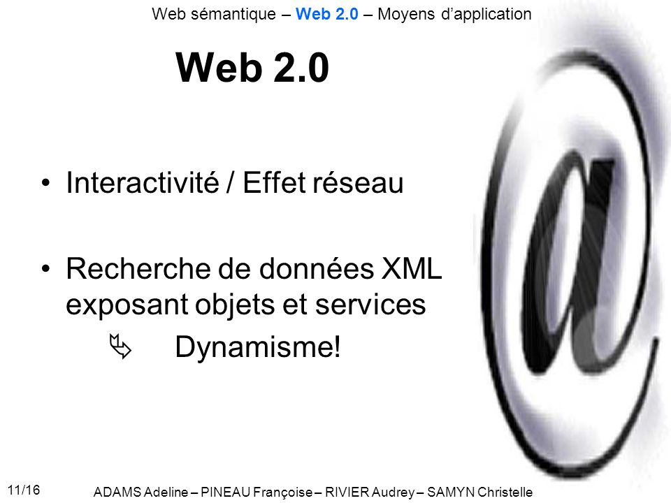 Web 2.0 Interactivité / Effet réseau