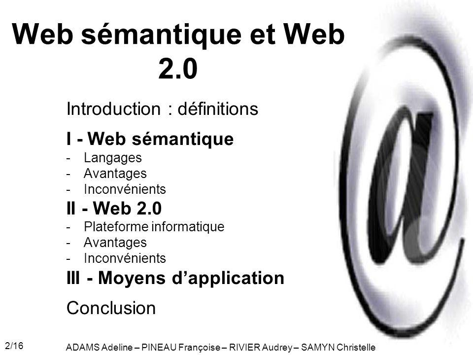 Web sémantique et Web 2.0 Introduction : définitions