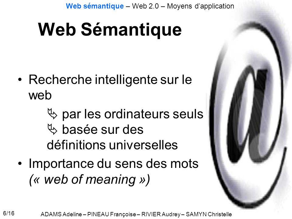 Web Sémantique Recherche intelligente sur le web
