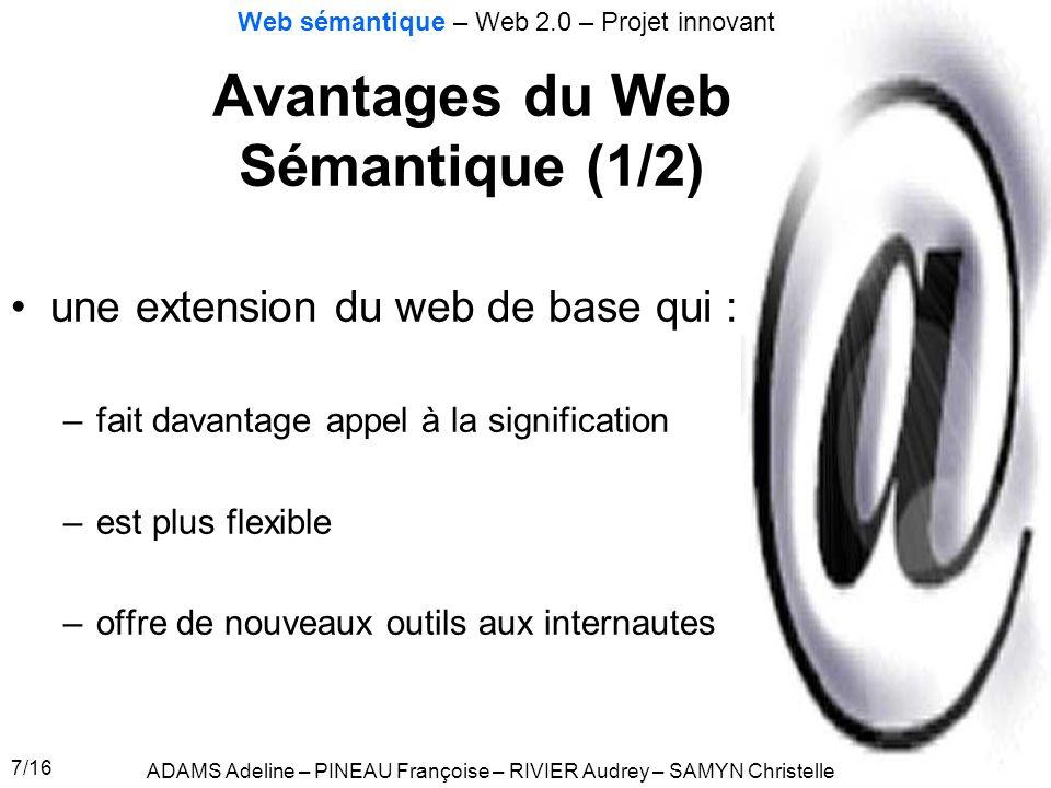 Avantages du Web Sémantique (1/2)