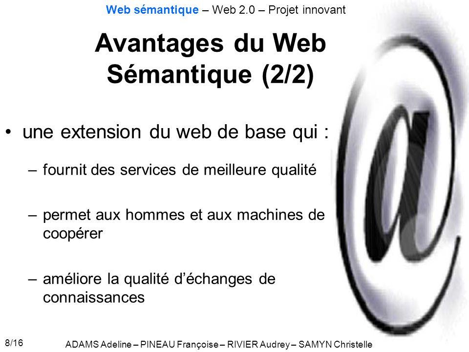 Avantages du Web Sémantique (2/2)