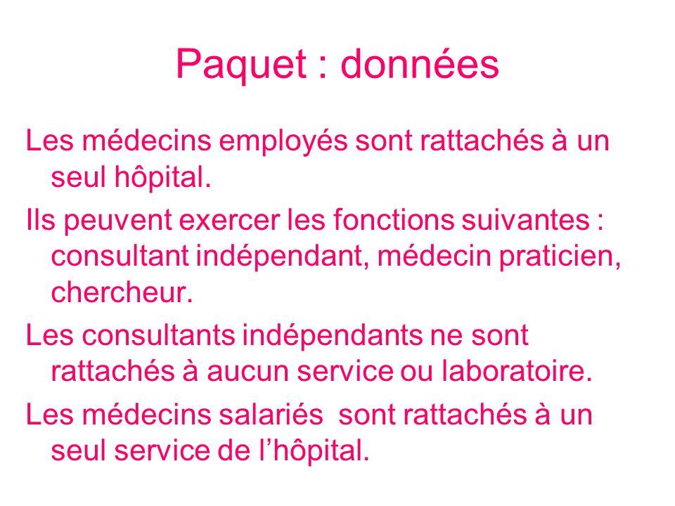 Paquet : donnéesLes médecins employés sont rattachés à un seul hôpital.