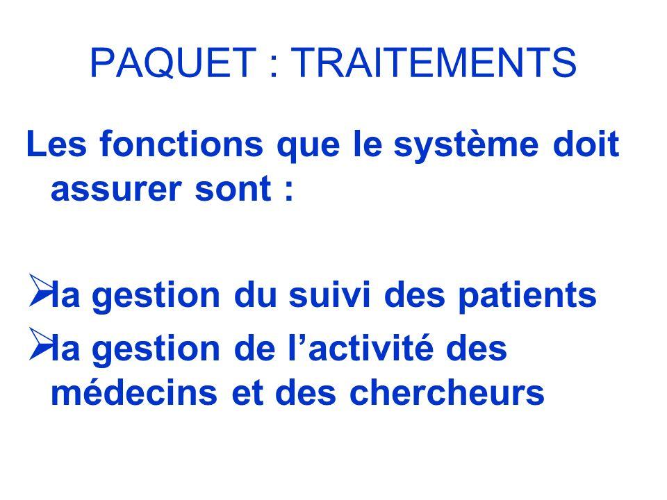 PAQUET : TRAITEMENTS Les fonctions que le système doit assurer sont :