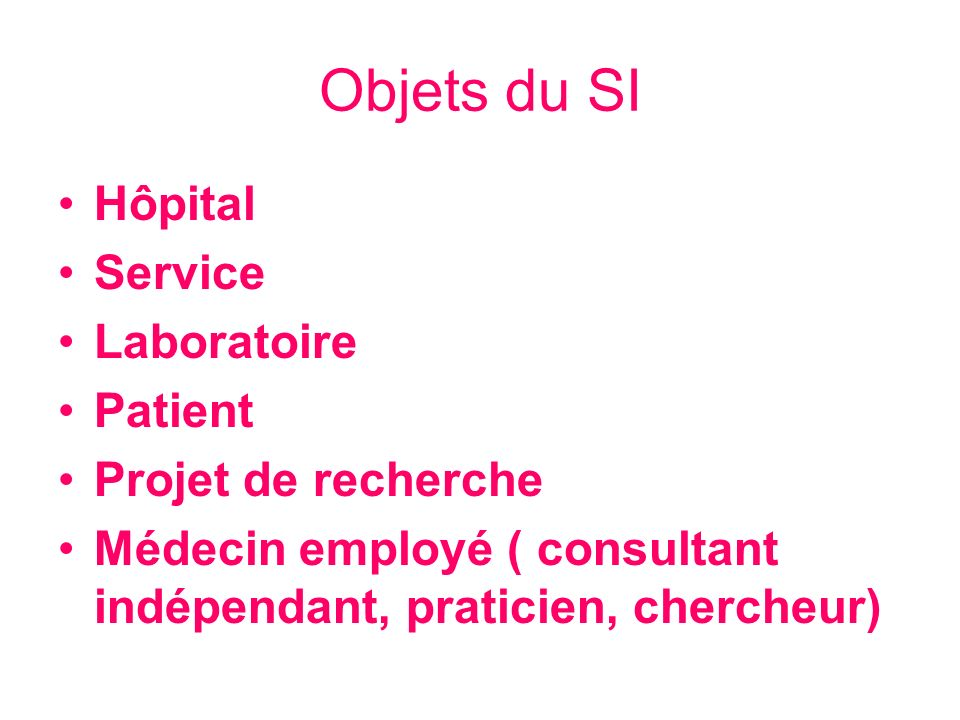 Objets du SI Hôpital Service Laboratoire Patient Projet de recherche