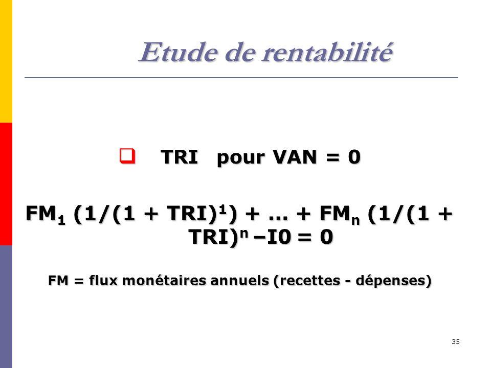 Etude de rentabilité TRI pour VAN = 0. FM1 (1/(1 + TRI)1) + … + FMn (1/(1 + TRI)n –I0 = 0.