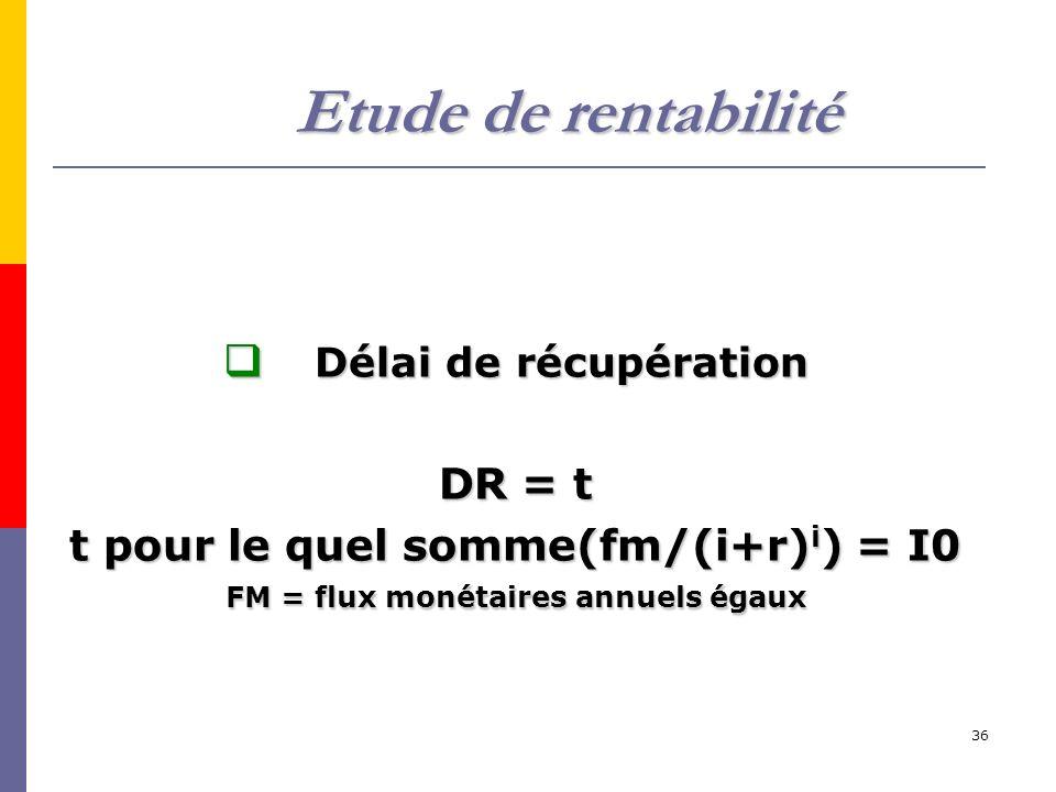 Etude de rentabilité DR = t t pour le quel somme(fm/(i+r)i) = I0