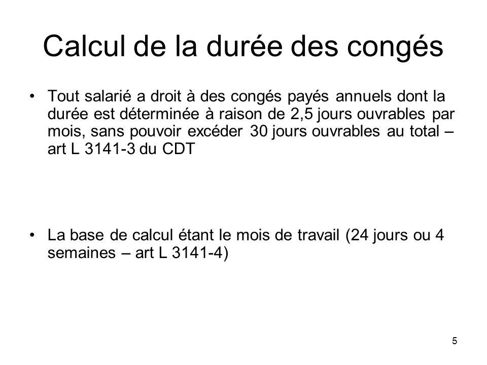 Calcul de la durée des congés