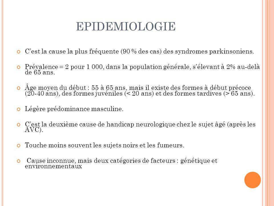 EPIDEMIOLOGIE C'est la cause la plus fréquente (90 % des cas) des syndromes parkinsoniens.