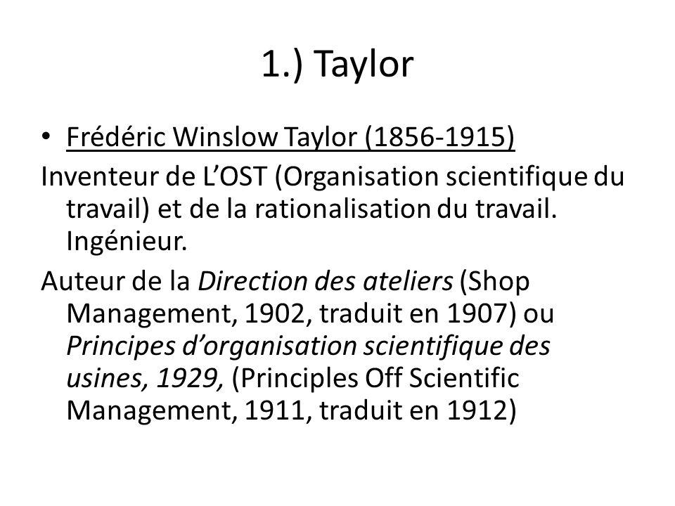 1.) Taylor Frédéric Winslow Taylor (1856-1915)