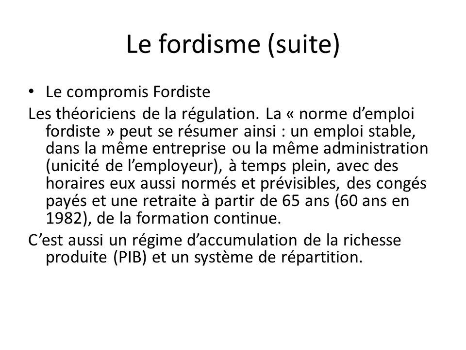 Le fordisme (suite) Le compromis Fordiste