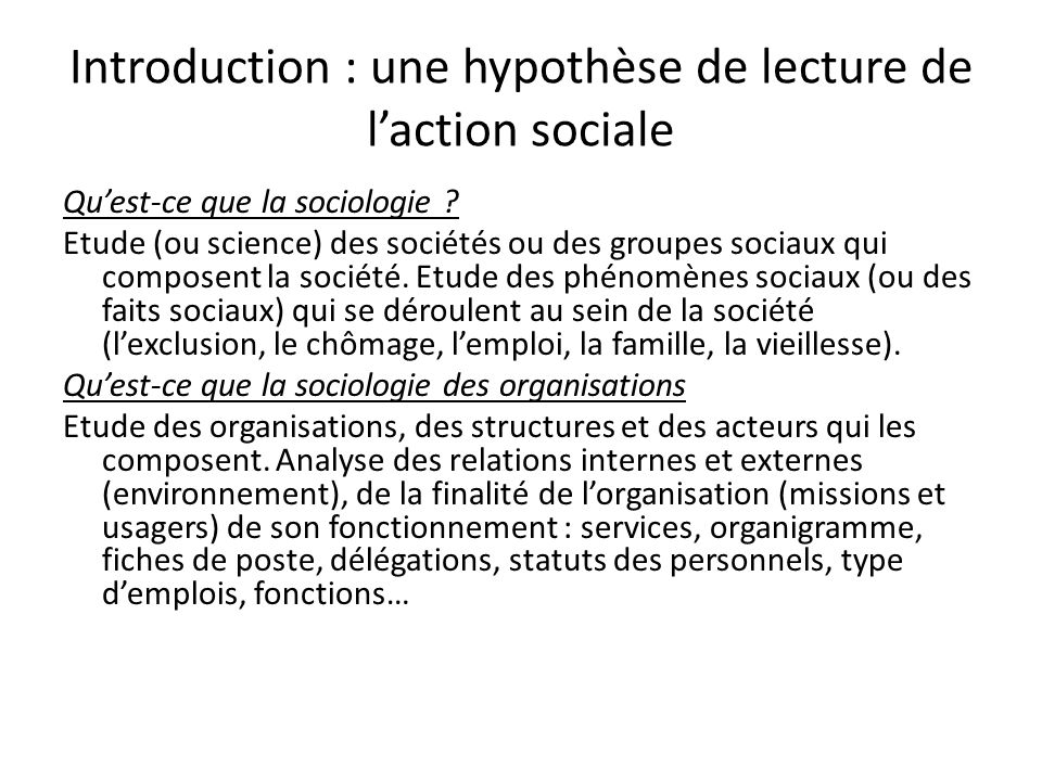 Introduction : une hypothèse de lecture de l'action sociale