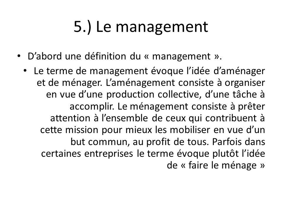 5.) Le management D'abord une définition du « management ».