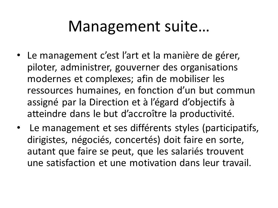 Management suite…