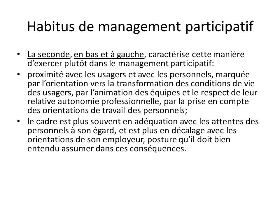 Habitus de management participatif