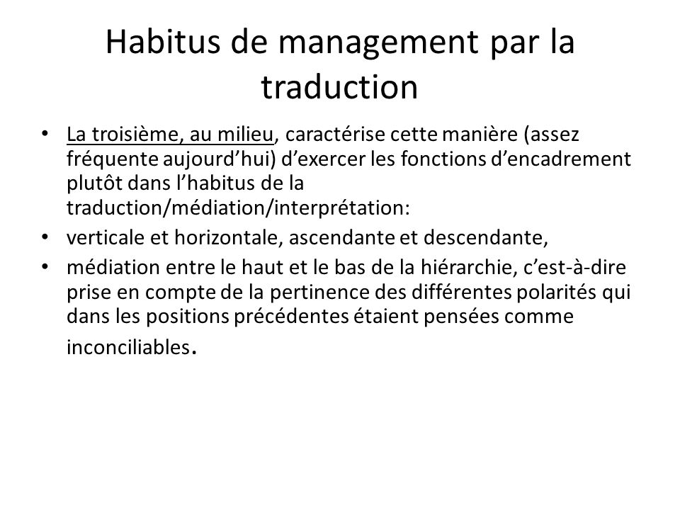 Habitus de management par la traduction