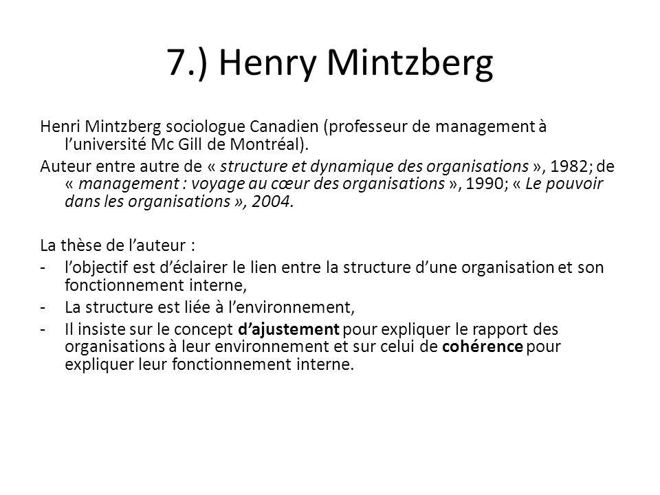 7.) Henry Mintzberg Henri Mintzberg sociologue Canadien (professeur de management à l'université Mc Gill de Montréal).