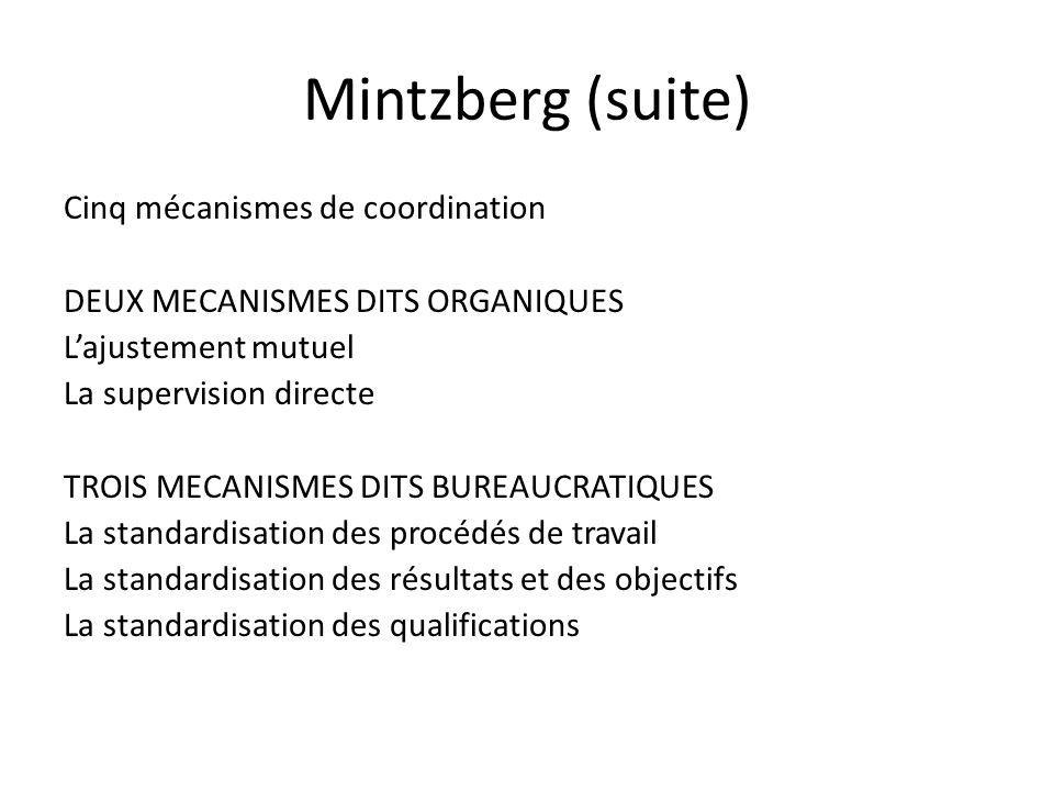 Mintzberg (suite) Cinq mécanismes de coordination