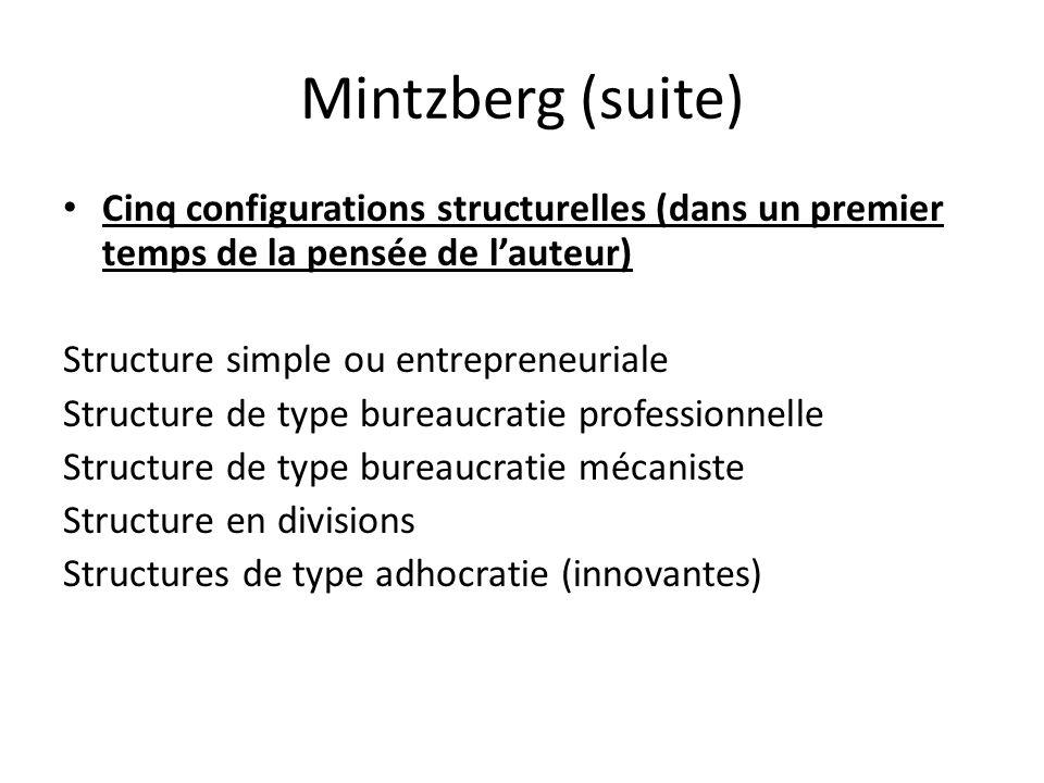 Mintzberg (suite) Cinq configurations structurelles (dans un premier temps de la pensée de l'auteur)