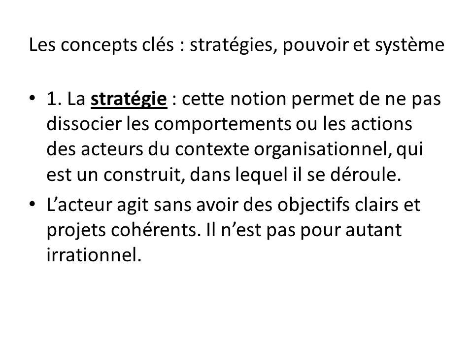 Les concepts clés : stratégies, pouvoir et système