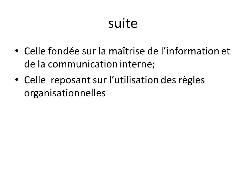 suiteCelle fondée sur la maîtrise de l'information et de la communication interne; Celle reposant sur l'utilisation des règles organisationnelles.