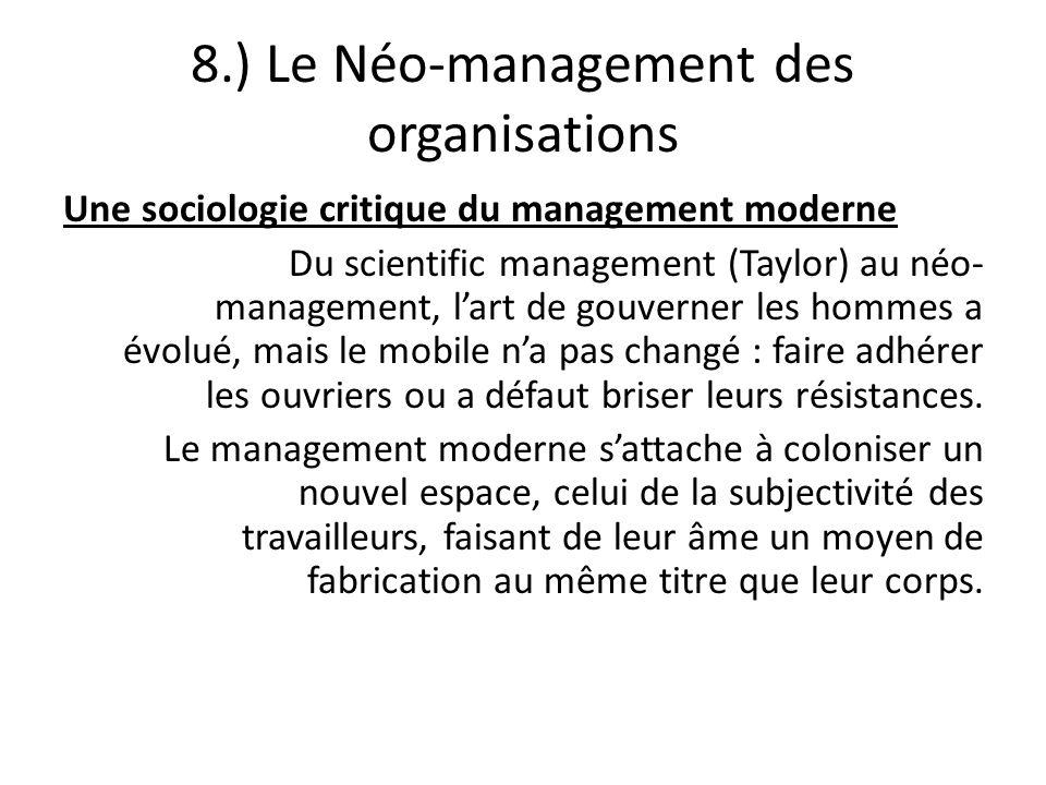 8.) Le Néo-management des organisations