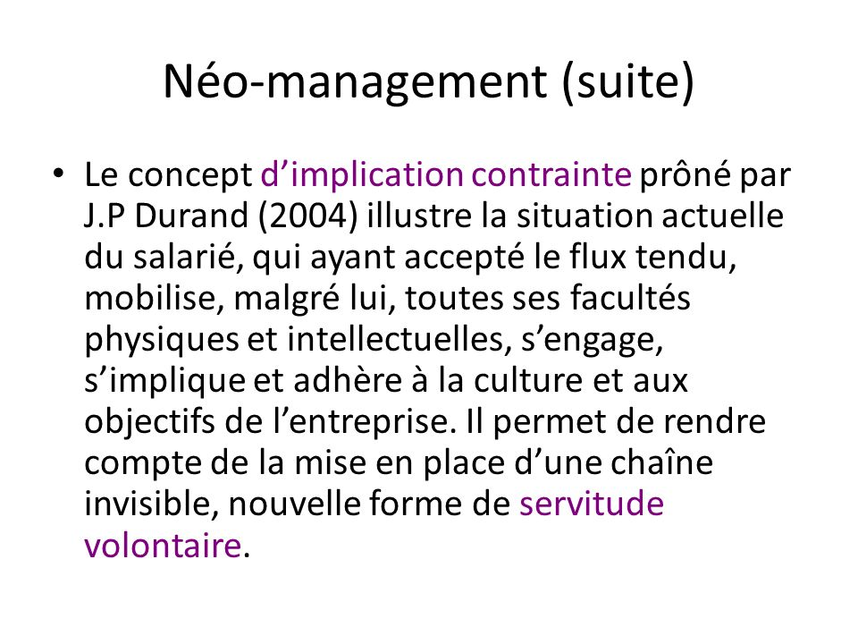 Néo-management (suite)