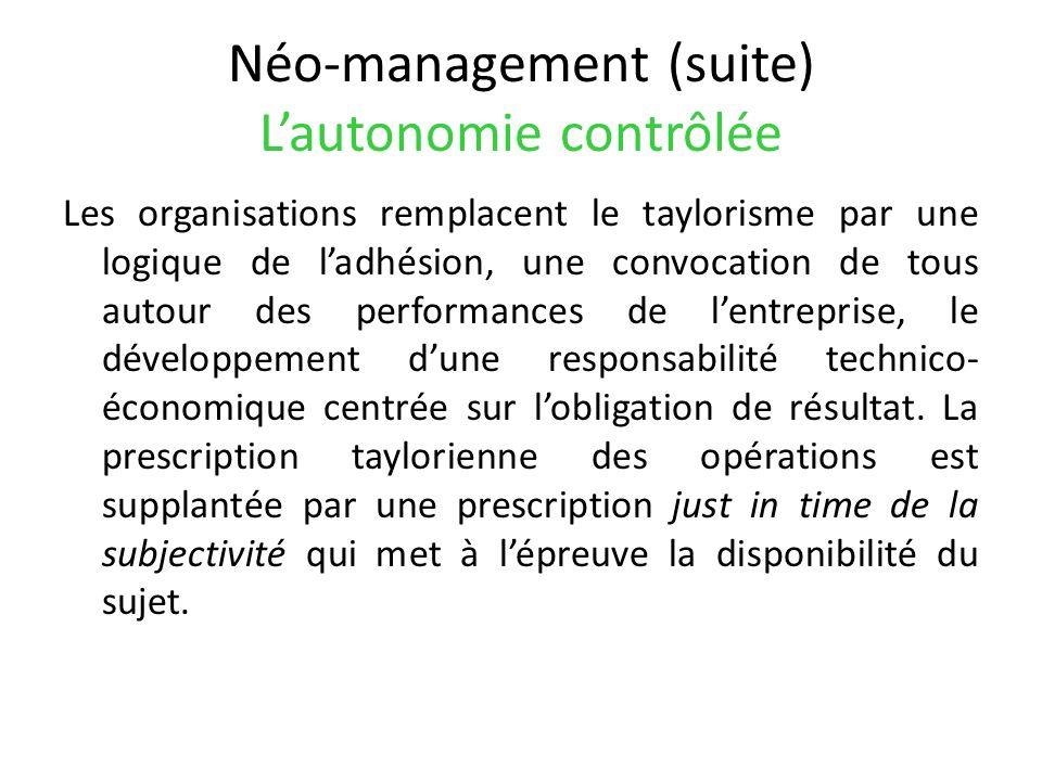 Néo-management (suite) L'autonomie contrôlée