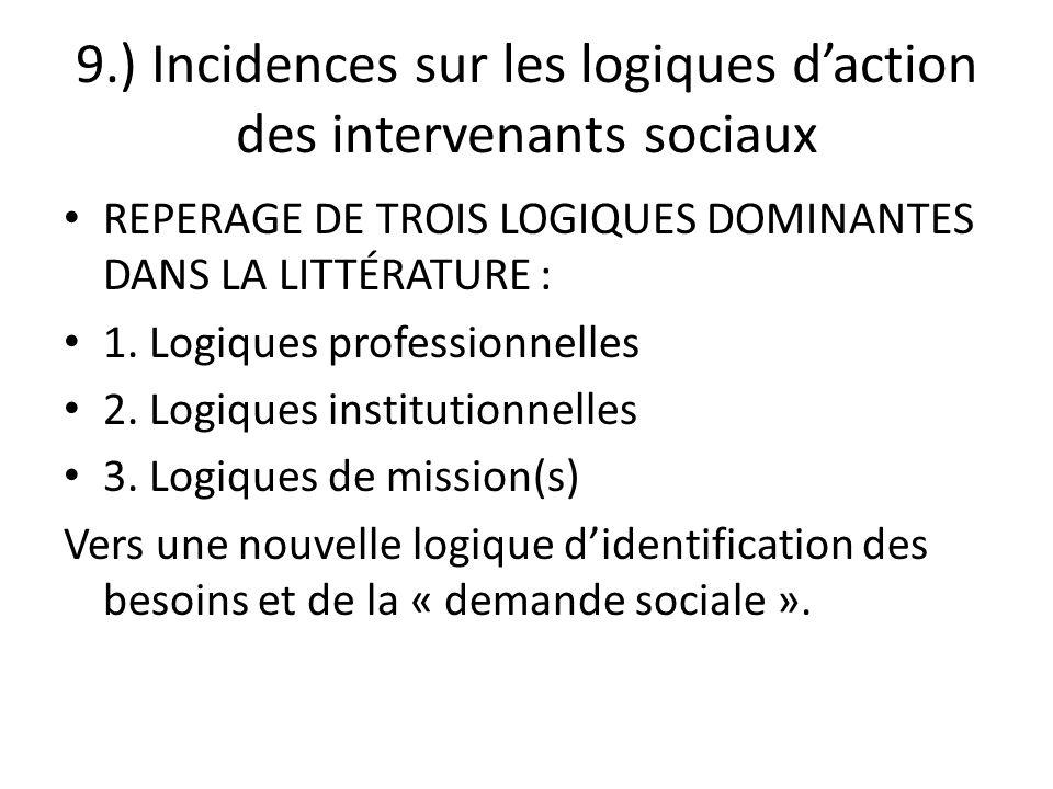 9.) Incidences sur les logiques d'action des intervenants sociaux