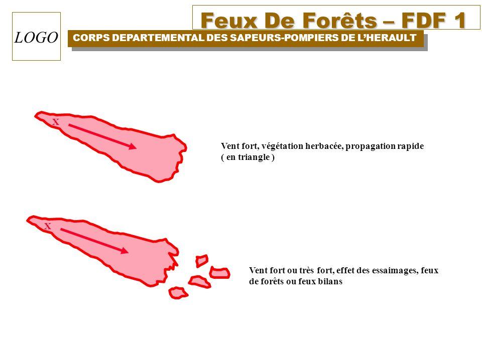 X Vent fort, végétation herbacée, propagation rapide. ( en triangle ) X. Vent fort ou très fort, effet des essaimages, feux.