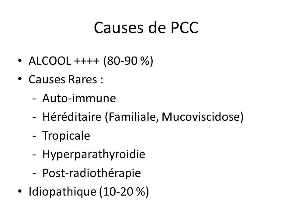 Causes de PCC ALCOOL ++++ (80-90 %) Causes Rares : - Auto-immune