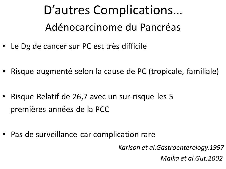 D'autres Complications… Adénocarcinome du Pancréas
