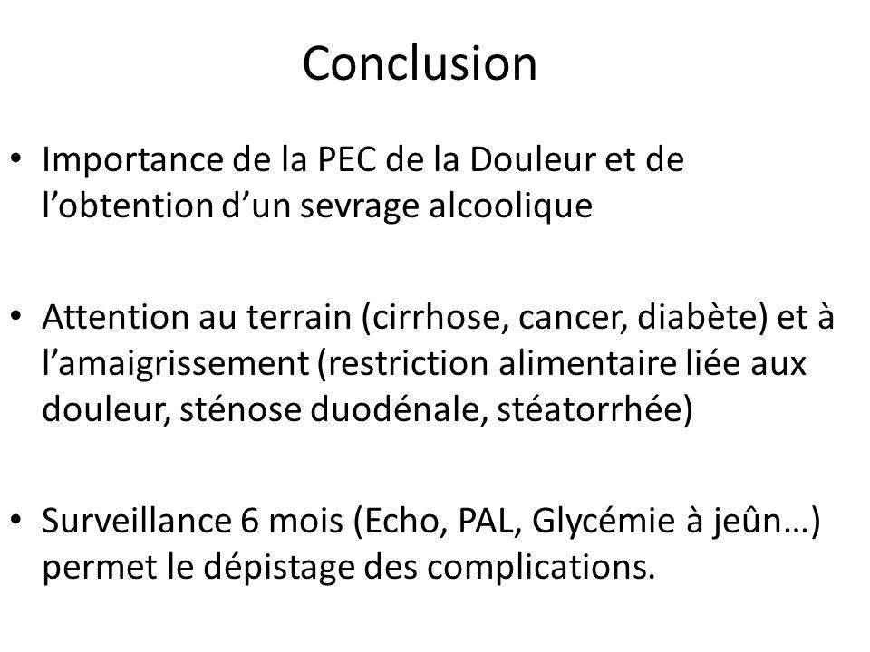 ConclusionImportance de la PEC de la Douleur et de l'obtention d'un sevrage alcoolique.