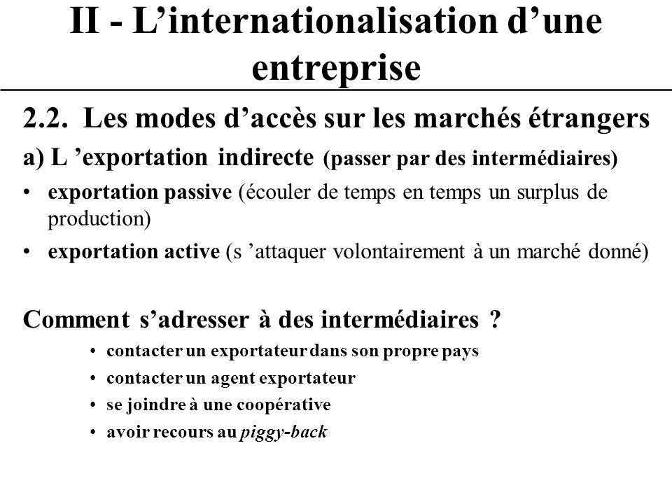 II - L'internationalisation d'une entreprise