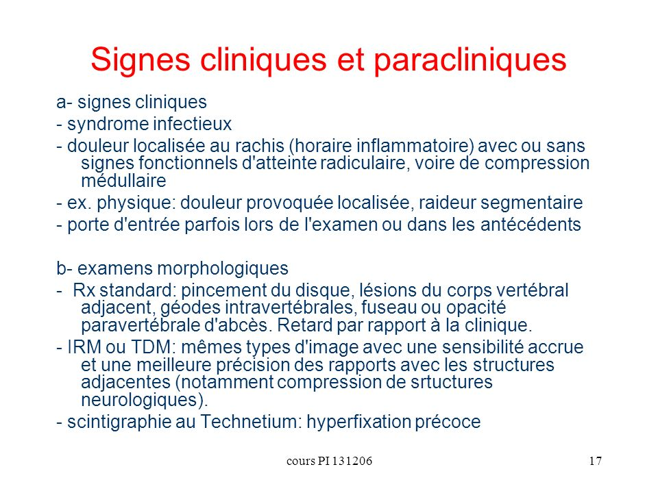Signes cliniques et paracliniques