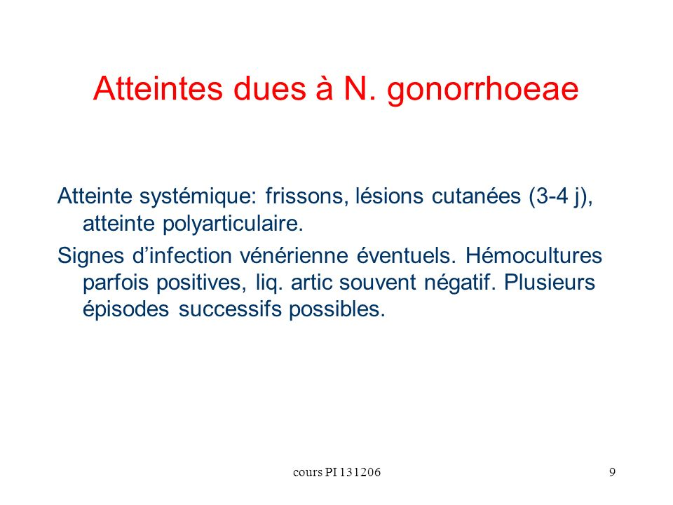 Atteintes dues à N. gonorrhoeae