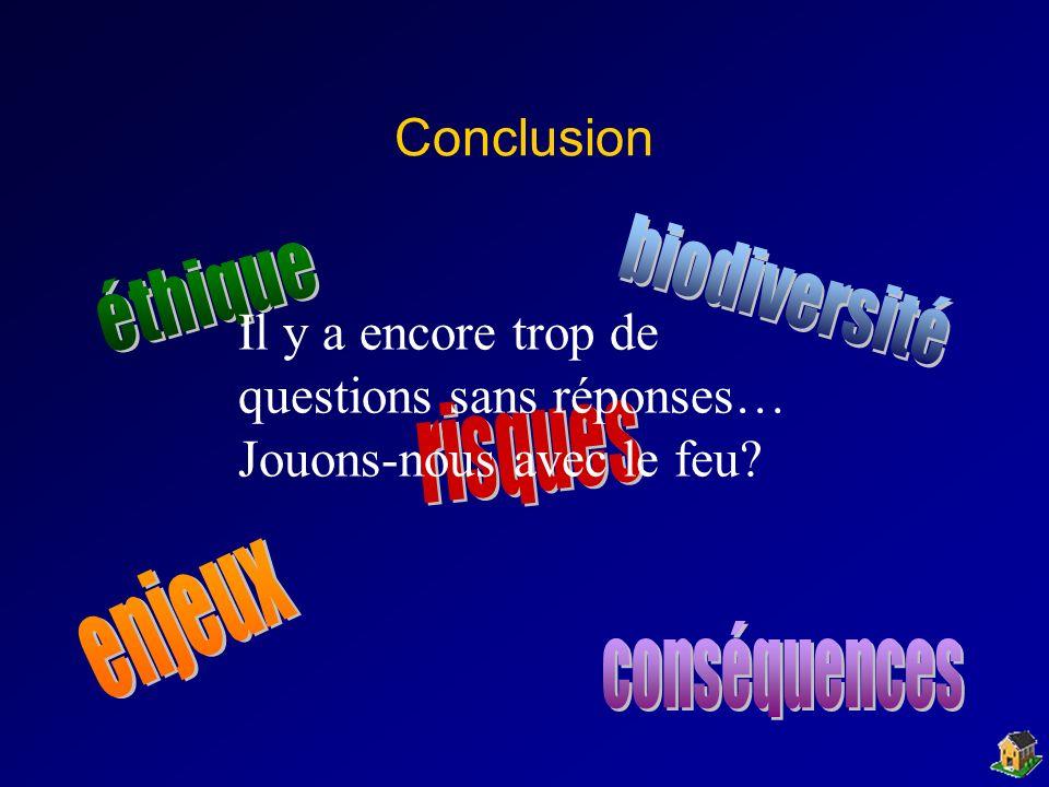 Conclusion éthique. biodiversité. Il y a encore trop de questions sans réponses… Jouons-nous avec le feu