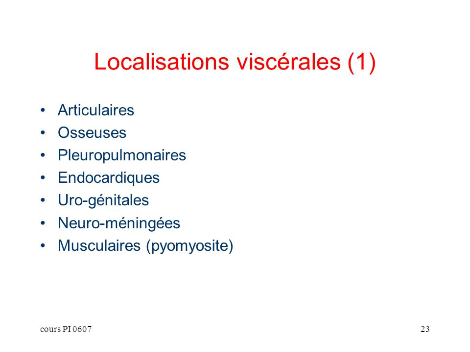Localisations viscérales (1)