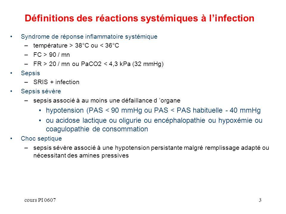 Définitions des réactions systémiques à l'infection