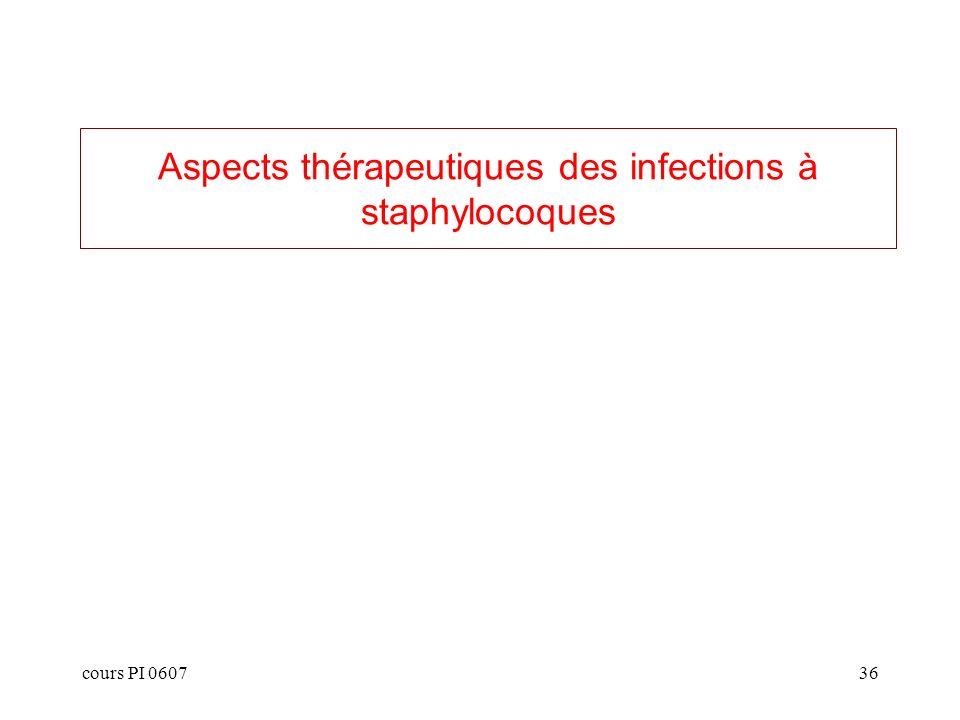 Aspects thérapeutiques des infections à staphylocoques