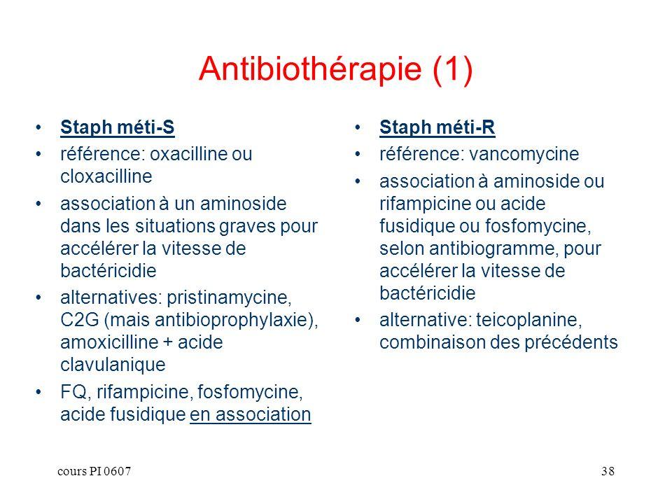 Antibiothérapie (1) Staph méti-S référence: oxacilline ou cloxacilline