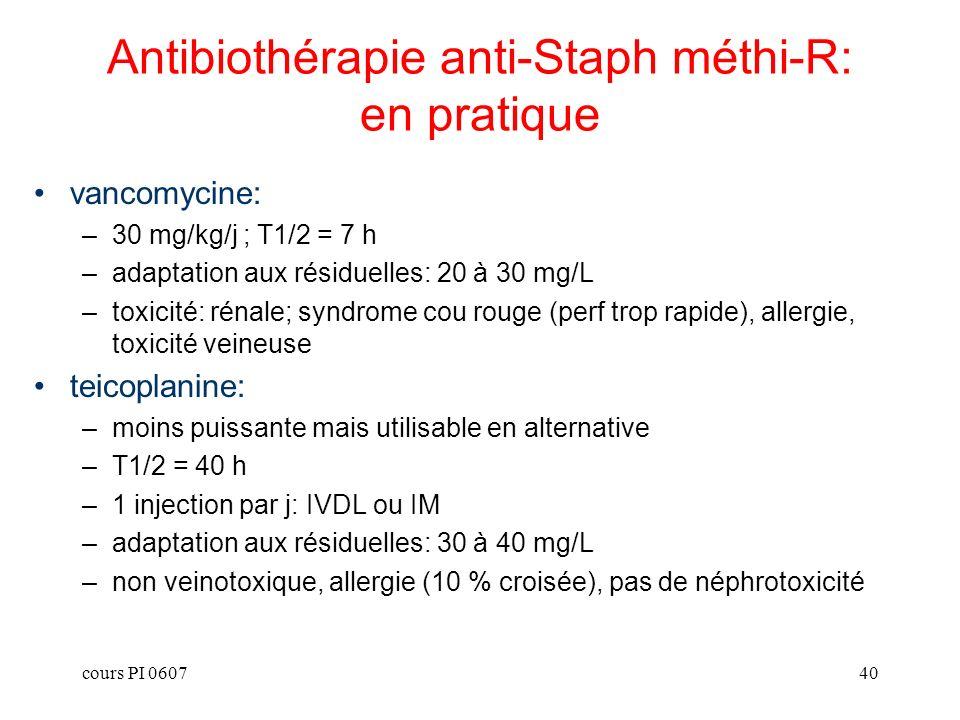 Antibiothérapie anti-Staph méthi-R: en pratique