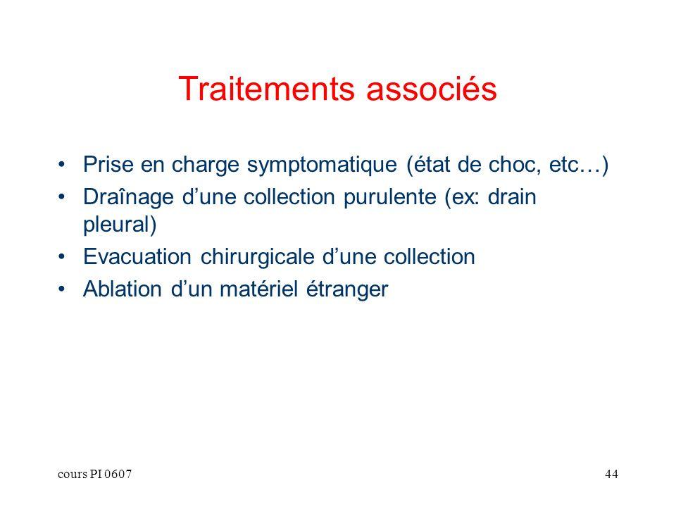 Traitements associés Prise en charge symptomatique (état de choc, etc…) Draînage d'une collection purulente (ex: drain pleural)